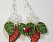 Ladybirds and leaves dangle earrings