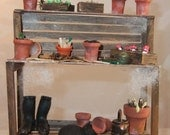 Spooky Miniature Potting bench for the witch dolls house 1/12 scale