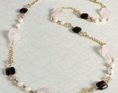 Long Gemstones Necklace, Quartz Necklace, Rose Quartz, Smoky Quartz, Golden, Gold Plated Chain, Long Necklace, Endless Necklace