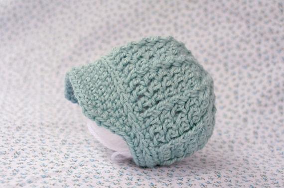 Little Boy Blue Billed Beanie - Newborn up to 3 mo - Crocheted - light aqua blue