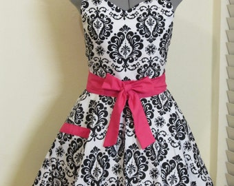 Sweetheart Hostess Apron - Black Damask with Hot Pink - Full of Twirl Flounce - Ready to ship