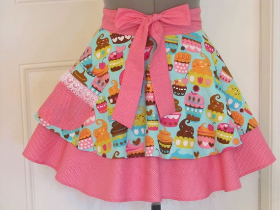 Sweet Treats Blue Cupcakes Half Apron - Sexy Double Flounce - Lace trim-