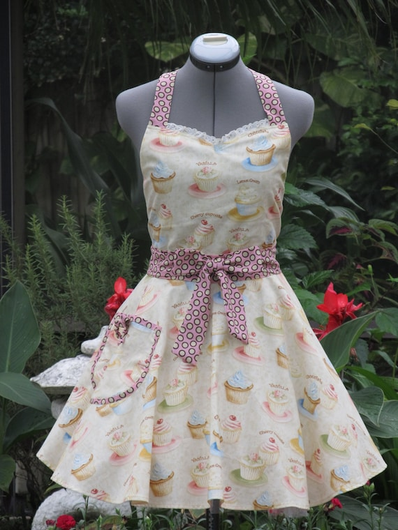 Sweetheart Hostess Apron-Creamy Vintage Cupcakes-Vintage Inspired -with Dots.. Full of Twirl Flounce