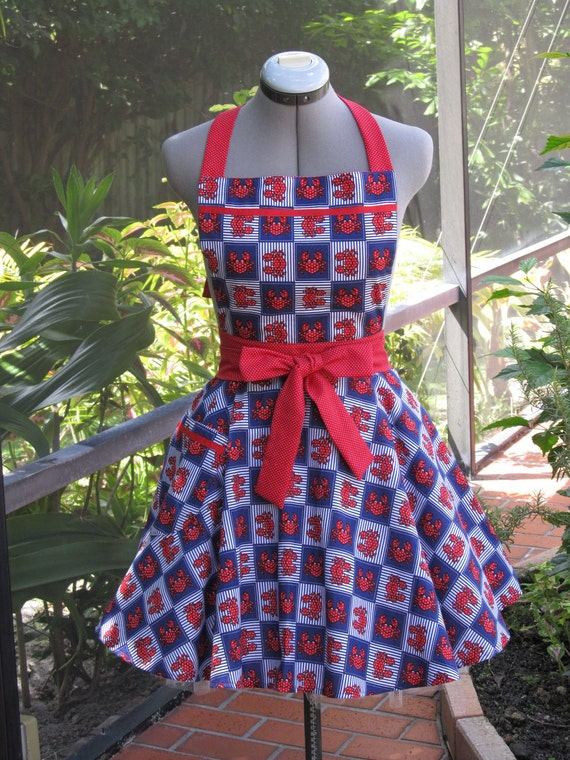 Sale-Ready to ship-Nautical Apron- With a hint of red and polka dots-Full of Twirl Flounce
