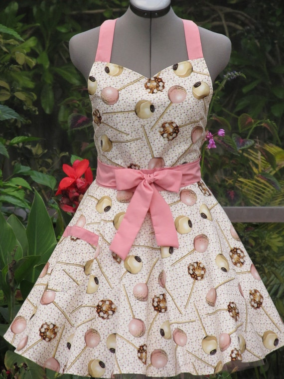 Reserved for Sugarbellacakepops- Sweetheart Hostess Apron-Cake Pops on Vintage Sprinkles-Full of Twirl Flounce