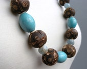 Faceted Aquamarine, Robins Egg Blue Chalk Turquoise, Carved Wood, Heishi Shell, Antiqued Brass Chain, Necklace