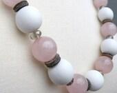 Rose Quartz, Raw Heishi Stone, Faceted Smokey Grey Czech Glass, White Wood, Gun Metal Grey Chain, Necklace