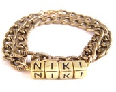 Personalized Name Bead Double-Strand Brass Bracelet - Choose your own message or name