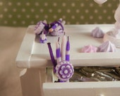 Dollhouse Miniatures - Set of 3 Candles - 2 purple/lilac striped, 1 lilac - 1/12th scale