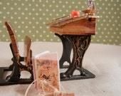 Dollhouse Miniature - Antique School Room Desk Scene - 1/12th scale