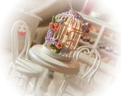 Dollhouse Miniatures - Shabby Chic Birdcage Light  decorated with Flowers - 1/12th scale