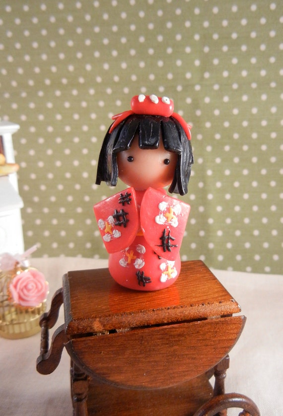 Miniature Dolls - Little China Doll Dressed in Red Kimono