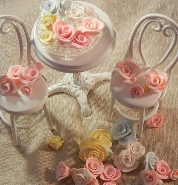 Dollhouse Miniature - Shabby Chic Pink, Blue, Yellow and Ivory Hand Made Roses - 1/12th scale
