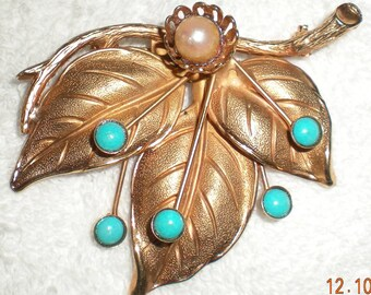 Vintage Costume Jewelry Gold Tone Three Leaf Pin with Faux Turquoise and Pearl
