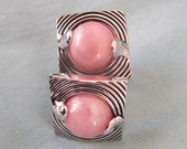 SALE -  1950s Vintage Cuff Links, Silver and Pink
