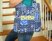 Blue and Yellow Floral Organizer Tote Bag With Matching Pocket Tissue Holder