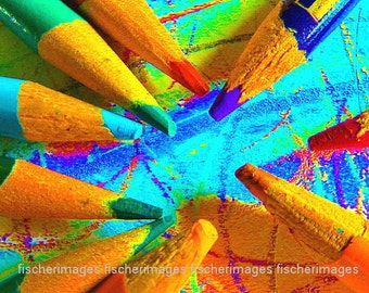Pencils Colored Macro Wall Art Home Decor Classroom Photo Digital Download Fine Art Photography
