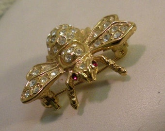 Jeweled Bee Brooch with Red Eyes