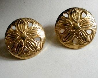 Golden Sand Dollar Earrings