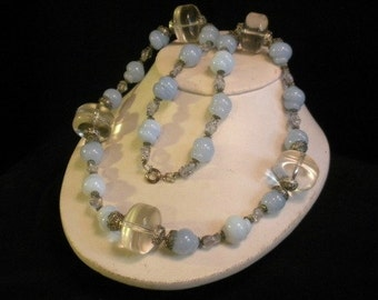Smokey Glass & Lucite Bead Necklace