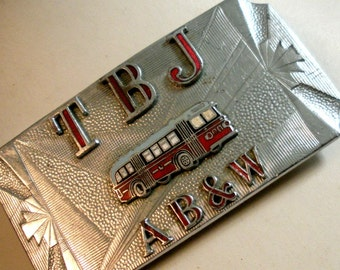 Art Deco Bright Red Bus Belt Buckle