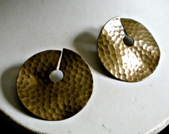 Hammered Indented  Disk Earrings