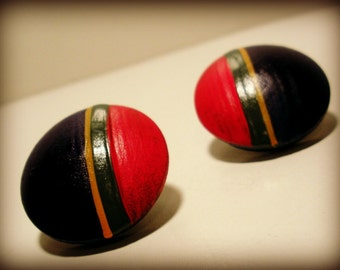 Brightly Colored Wooden Earrings