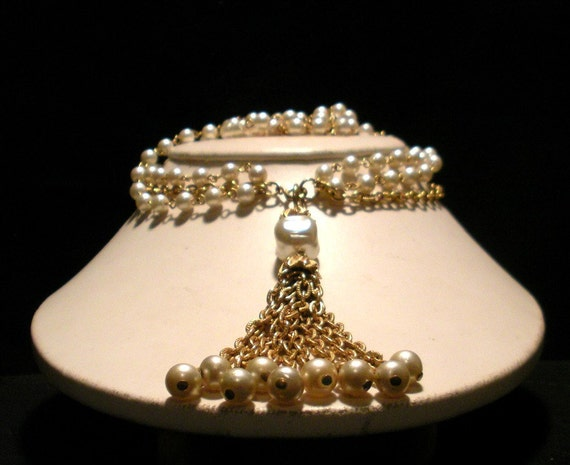Triple Chain Pearl Choker with Fringe Pendant