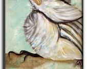 "title : birdie , bird,  silvers, chicken Original Modern Abstract Large Painting 30""x24""x1.5""  by artist  LILIANA GRAHAM"