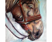 """horse animals pets l Modern Abstract handmade giclee print on canvas Large Painting 30""""x30"""" by LILIANA GRAHAM"""