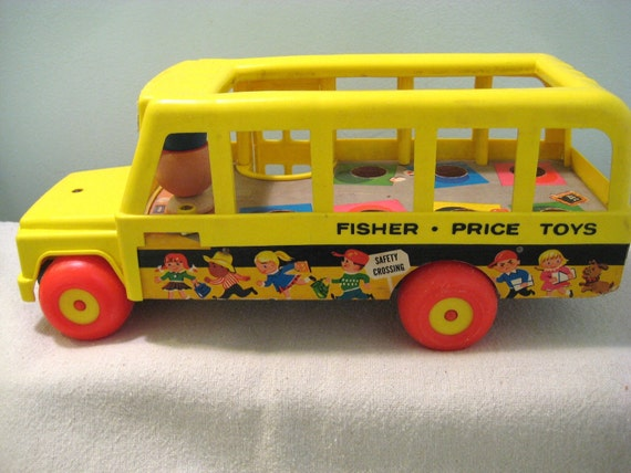 vintage fisher price school bus toy. Black Bedroom Furniture Sets. Home Design Ideas