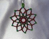 Beaded Red and Green Snowflake Ornament