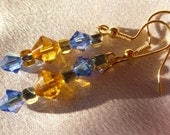Blue and Topaz Colored Bicone Crystal Earrings with Triangle Cut Glass Beads
