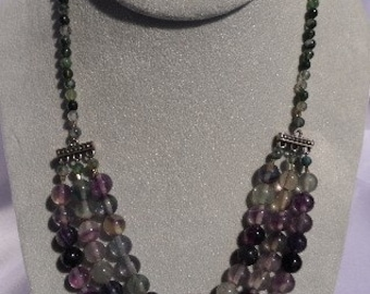 Chunky Flourite 3 to 1 Beaded Necklace