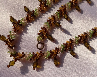 Beaded Green and Brown Woven Choker with Crystal Accents
