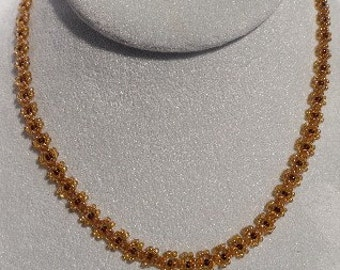 Beaded Amber Daisy Chain Necklace