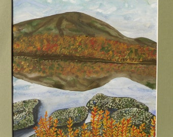 Autumn, Fall, Leaves, Water, Rocks, Sky, Mountain Landscape Watercolor Painting