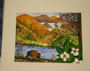 Mountains, Buffalo, Landscape, Fall Scene Watercolor Painting--Autumn's Dream