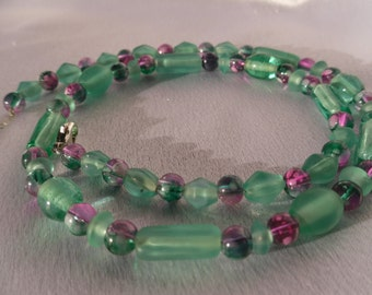 Blue Green and Purple Glass Bead Necklace