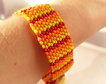 Striped Red, Orange and Yellow Peyote Stitch Bracelet with Vintage Yellow Button Clasp
