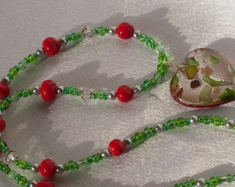 Green, Silver and Red Beaded Necklace with Glass Heart