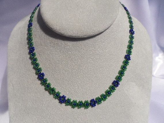 Green and Blue Beaded Daisy Chain Necklace