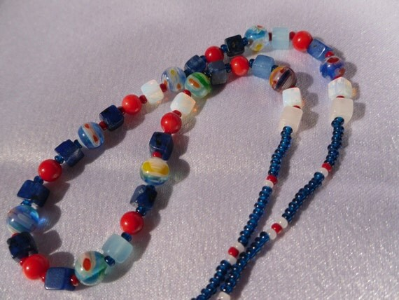 Blue and Red Funky Necklace
