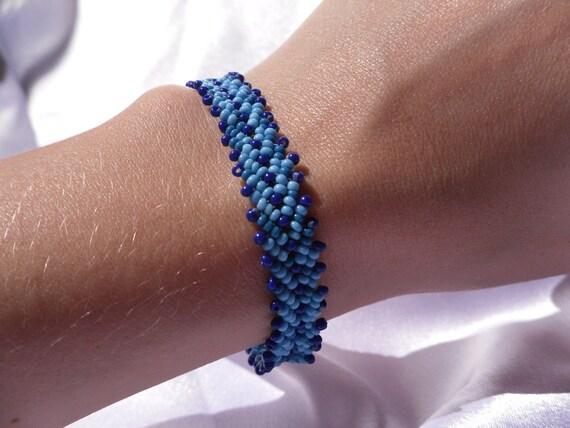 Woven Two-Tone Blue Beaded Bracelet