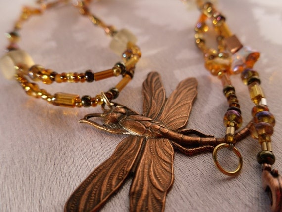 Beaded Bronze, Brassy, Coppery and Gold Dragonfly Necklace