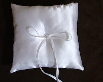 ring bearer pillow custom made white satin personlised