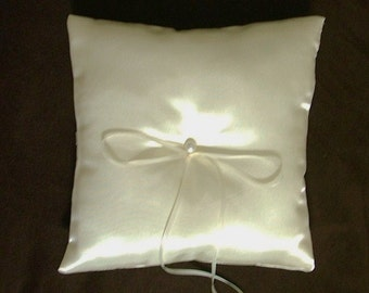 wedding ring bearer pillow custom made ivory satin