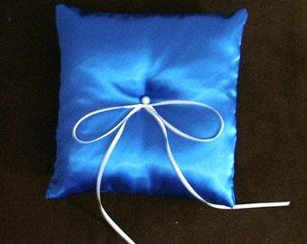 custom made royal blue satin ring bearer pillow