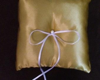 custom made gold satin wedding ring bearer pillow