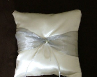 custom made white silver satin personlised ring bearer pillow